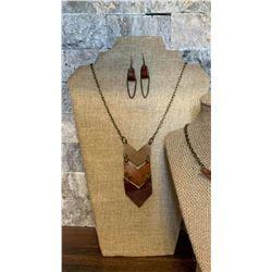 Chevron Necklace & Earring Set
