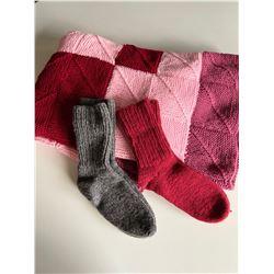 Handmade afghan, 2 pairs of knit wool socks and Estee Lauder 'Pleasures' fragrance spray