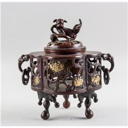 Chinese Bronze Cast Lion Censer with Xuande Mark