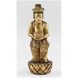 Chinese Gilt Wood Carved Guanyin Statue