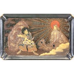 Japanese Lacquer Tray Painted
