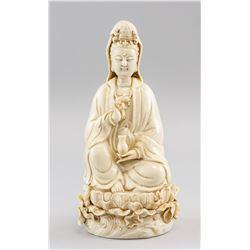 Chinese Dehua White Porcelain Guanyin Statue He Ch