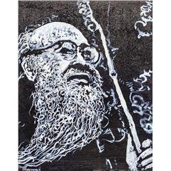 Chinese Acrylic on Canvas Portrait of Qi Baishi