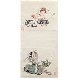 Signed Chinese Watercolor on Scroll