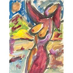 """Acrylic on Paper Nude """"Szabo Noemi BEMETH MIKLOS"""""""