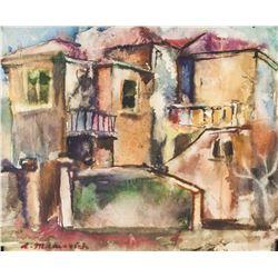 Abraham Manievich American-Russian Watercolor