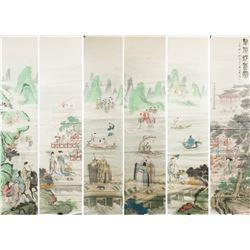 Huang Shanshou 1855-1919 Chinese Watercolor 6 PC