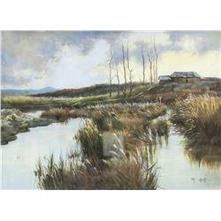 Lee Yun Jung Korean Mixed Media on Paper Landscape