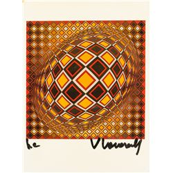 Victor Vasarely Hungarian-French Mixed Media