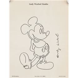"Andy Warhol US ""Mickey Mouse"" Ink on Paper Drawing"