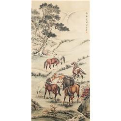 Puru 1896-1963 Chinese Watercolor Horses