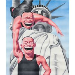 After Yue Minjun Chinese Acrylic Laughing Men