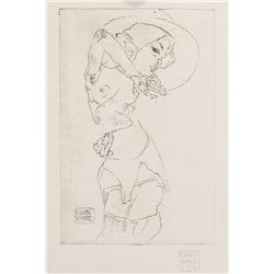 Egon Schiele Austrian Signed Linocut Etching