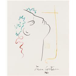 Jean Cocteau French Ink on Paper Portrait