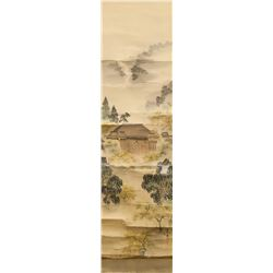 Japanese Watercolor Palace Scroll