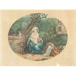 Vintage Etching on Paper FRRYEURE MATERNELLE