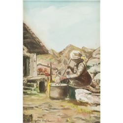John Doyle Oil on Canvas Woman Working