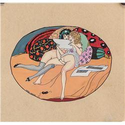Gerda Wegener Danish Art Deco Gouache on Paper