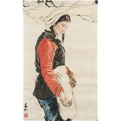 Jiang Zhaohe 1904-1986 Chinese Watercolor Lady