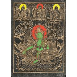 19th Century Tibetan Tanka Green Tara
