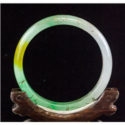 Burma Tri-color Jadeite Carved Bangle