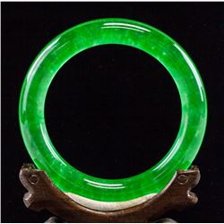 Chinese Burma Imperial Green Jadeite Bangle GIA