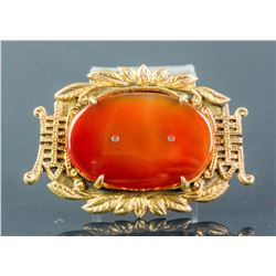 Hong Kong Agate Longevity Brooch