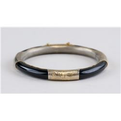 Chinese Gilt Black Stone Bangle