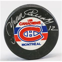 Yvan Cournoyer 1943- Canadian Autographed NHL Puck