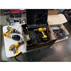 DEWALT CORDLESS DRILLS AND BOX OF TOOLS AND PUNCH
