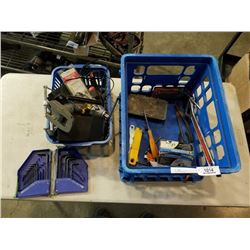 Crate of tools and clamp