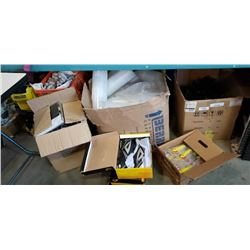LARGE BOX OF SMALL PAILS, BOX OF GRAPEFRUIT KNIVES, IPAD CASES AND CLEATS