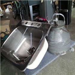 Copper milking can and stainless sink