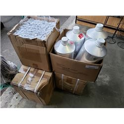Lot of aluminum jugs with lids and small plastic bottles