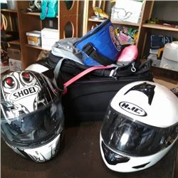 2 Motor cycle helmets and lot of bags