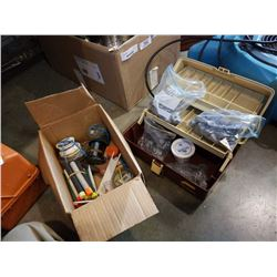 Tackle box with lead weights and box of tackle