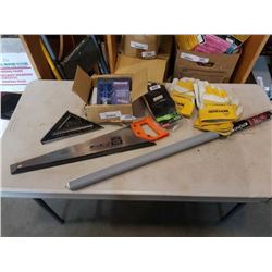 Lot of kevlar sciccors, work gloves, hand saw and more