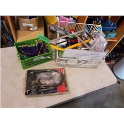 BOX OF FUEL FILTERS, CAR PARTS, FLEXIBLE DRILL EXTENTION AND BAGS