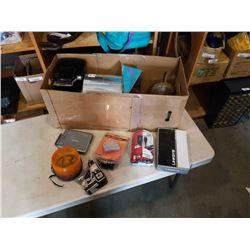 BOX OF ELECTRONICS, KEURIG COFFEE MAKER, 10LB DUMBELL
