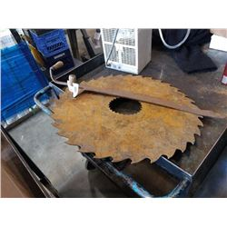 ANTIQUE HAY SAW AND 25 INCH ANTIQUE SAW BLADE
