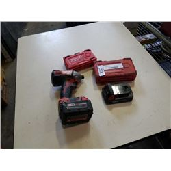 Milwaukee m18 drill and 2 batteries with bits