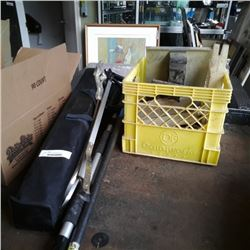 Crate of tablesaw accessories, picking tool, load bar, mixing tool and more