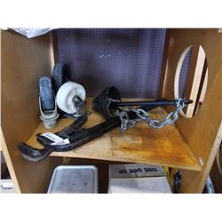 LARGE RIGID PIPE WRENCH, LARGE CASTORS, ANCHOR