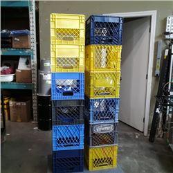 Lot of 12 milk crates