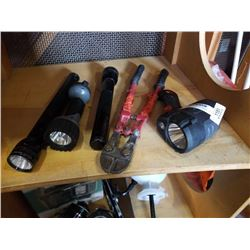 Lot of flashlights and bolt cutters