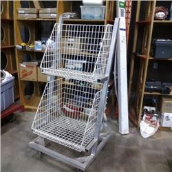 2 basket retail rolling tiltable rack