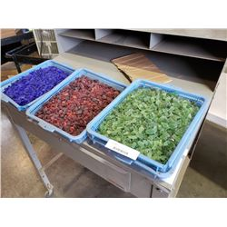 3 Trays of decorative colored rock