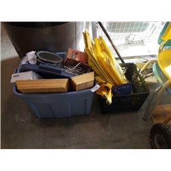 TOTE AND CRATE OF WET FLOOR SIGNS AND ESTATE GOODS