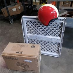 Exergear portable stepper, vintage motorcycle helmet and baby gate