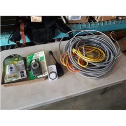 TRAY OF GARDEN TIMERS AND ELECTRICAL CONDUIT AND CORDS